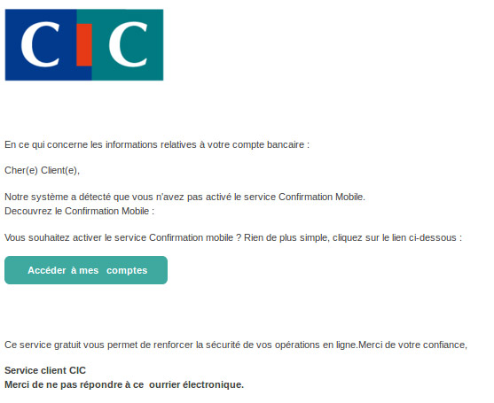 Capture d'un e-mail frauduleux